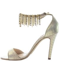 Oscar de la Renta Gold Leather Sandals - Metallic