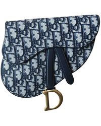 Dior Sac à main Saddle en Toile Bleu