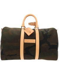 Louis Vuitton Keepall Leinen Reise Tasche - Grün
