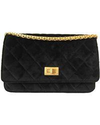 Chanel Borsa a tracolla Wallet on Chain in Velluto - Nero