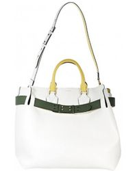 e78d4729477d Burberry Small Buckle Leather Tote in White - Lyst