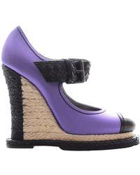 Bottega Veneta Leather Heels - Purple