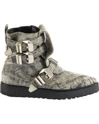 Alexander Wang - Pre-owned Grey Leather Ankle Boots - Lyst