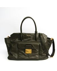 Miu Miu - Khaki Leather Handbag - Lyst