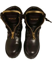 Balmain Leather Biker Boots - Black