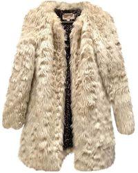 Michael Kors Ecru Faux Fur Coats - Natural