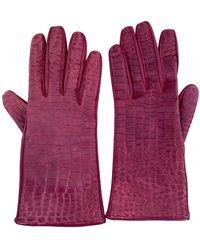 Burberry Leder Handschuhe - Rot