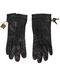 Dior Guantes en cuero negro