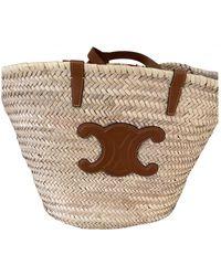 Celine Large Triomphe Basket Bag Raffia Tan - Natur