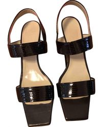 Max Mara Patent Leather Sandals - Black