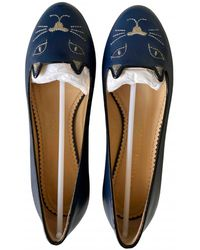Charlotte Olympia Kitty Leather Ballet Flats - Blue