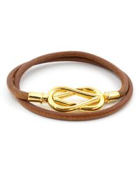 Hermès - Atamé Gold Leather Bracelets - Lyst