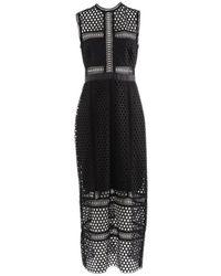 Self-Portrait - Black Polyester Dress - Lyst