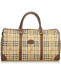783e1fbd4374 Burberry - Pre-owned Vintage Brown Cloth Travel Bags - Lyst