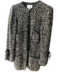 Chanel Abrigo en lana negro