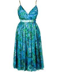 Dior Robe en Soie Multicolore - Bleu