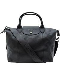 Longchamp Sac à main Pliage en cuir - Noir