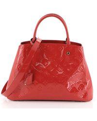 Louis Vuitton - Montaigne Red Patent Leather Handbag - Lyst