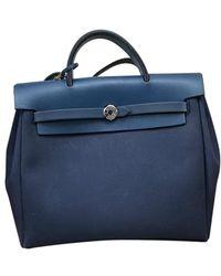 Hermès Sac à main Herbag en Toile Bleu