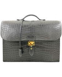Hermès Sac À Dépèches Alligator Satchel - Grey