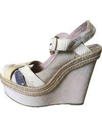 Mulberry Beige Leather Sandals - Natural