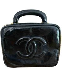 Chanel Borsa a mano in vernice nero Vanity