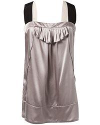 Miu Miu Grey Silk Top - Gray