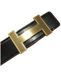 Hermès Ceinture H en cuir - Noir