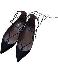 Aquazzura Christy Black Leather Ballet Flats