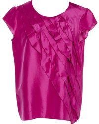Oscar de la Renta Pink Silk Top