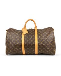 Louis Vuitton Keepall Cloth Weekend Bag - Brown