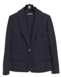 Chanel Chaqueta en tweed negro - Azul