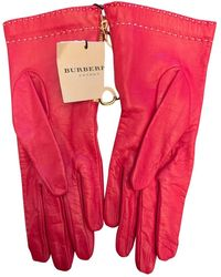 Burberry Guanti in pelle rosso