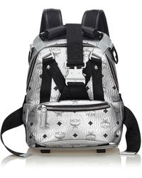 MCM - Silver Leather Backpacks - Lyst