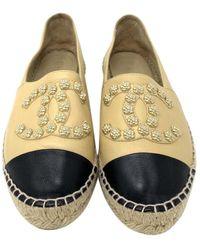 Chanel Beige Leather Espadrilles - Natural