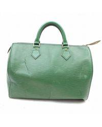 Louis Vuitton Speedy Green Leather Handbag