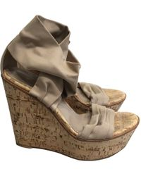 Gianvito Rossi - Pre-owned Beige Cloth Sandals - Lyst