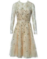 Oscar de la Renta Beige Synthetic Dress - Natural