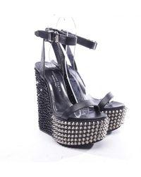 Philipp Plein Leather Sandals - Black