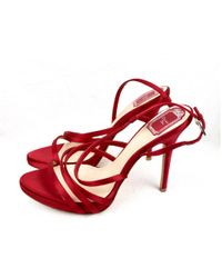 Dior - Red Leather Sandals - Lyst