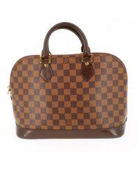 Louis Vuitton Borsa a mano in tela marrone Alma