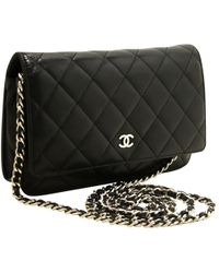 454d9e1b9099b1 Chanel - Pre-owned Wallet On Chain Black Leather Handbags - Lyst