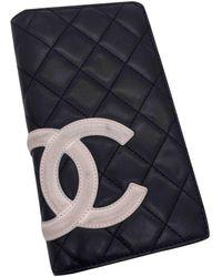 Chanel Cambon Leder Portemonnaies - Schwarz