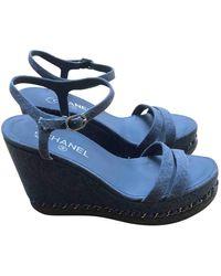 Chanel Blue Cloth Sandals