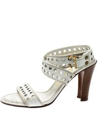 Ferragamo - White Perforated Leather Ankle Wrap Sandals Size 38 - Lyst