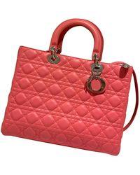 Dior Bolsa de mano en cuero rosa Lady