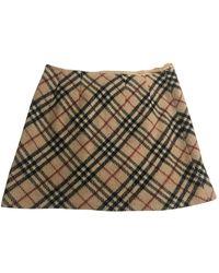 Burberry Wool Mini Skirt - Natural