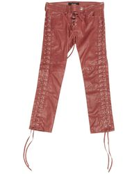 Isabel Marant - Red Leather Trousers - Lyst