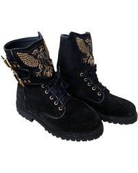Balmain Leather Biker Boots - Black