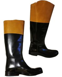 Michael Kors Patent Leather Riding Boots - Brown